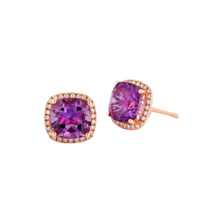 14ct Amethyst & Diamond Earrings