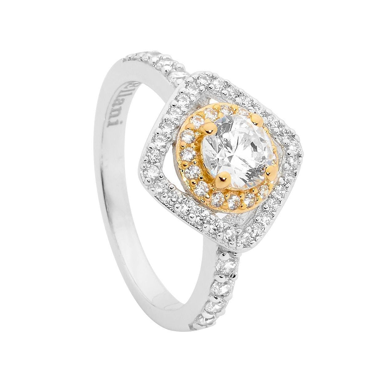 SS CZ Solitaire Round & Square Halo Ring