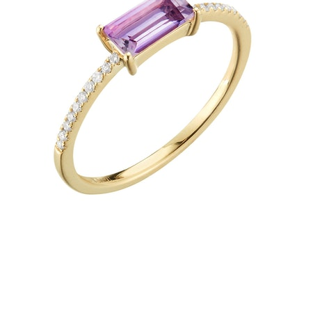 14ct Amethyst & Diamond Ring